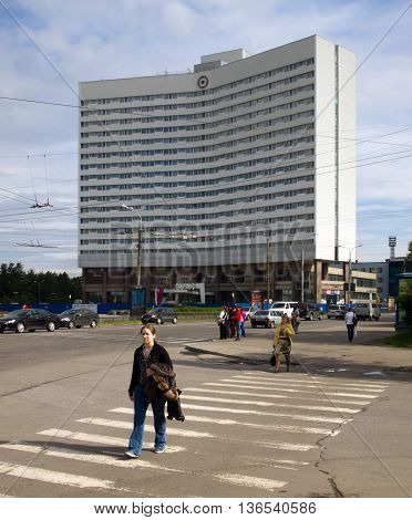 Murmansk Russia - June 21 2013 View of the hotel