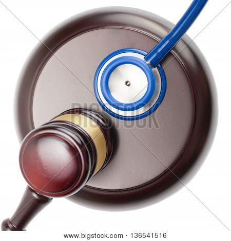 Close Up Shot Of Judge Gavel And Stethoscope On White