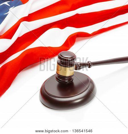 Wooden Judge Gavel Near Flag Of Unites States Of America - Closeup Shoot