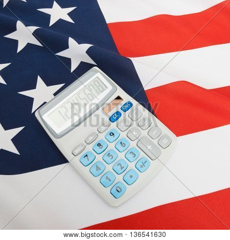 National Flag With Calculator Over It - Usa