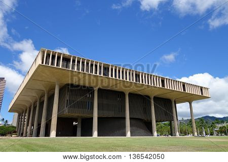 Hawaii State Capitol Building in Honolulu on Oahu Hawaii.