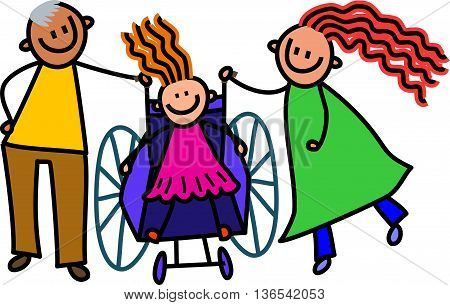 A doodle sketch of a happy little girl in a wheelchair with her parents standing by.