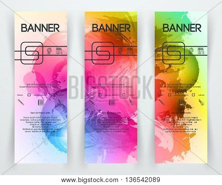 Bright Colorful Banners with Watercolor Splashes. Abstract Paint Texture. Rainbow Colored Banner Design. Vector illustration.