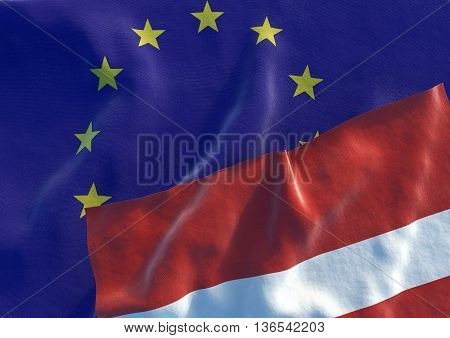 Flags of the Latvia and the European Union. Latvian Flag and EU Flag. 3D render