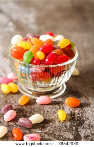 Colorful Jelly Beans On Background Stone