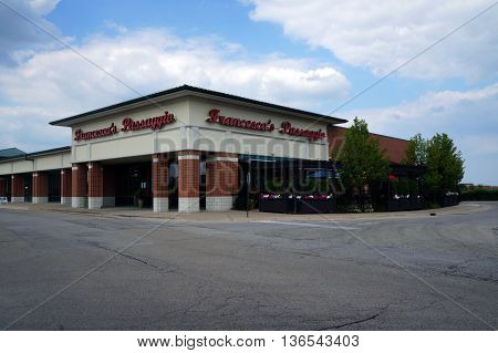 NAPERVILLE, ILLINOIS / UNITED STATES - JULY 23, 2015: Francesca's Passagio Restaurant offers fine Italian dining in a Naperville strip mall.