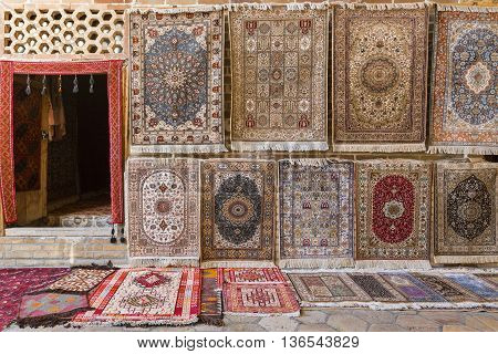 Carpet shop selling oriental rugs in Bukhara, Uzbekistan