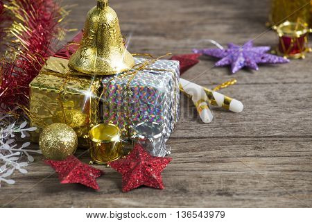 Chrismas Baubles And Vary Of Decoration On Wood Background