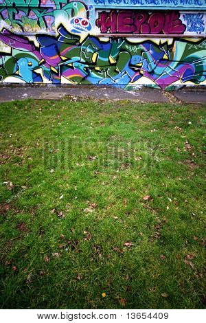 Graffiti in an urban setting #2 including grass