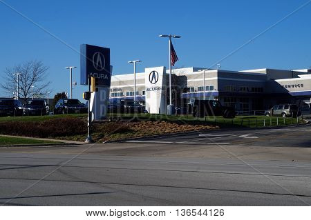 NAPERVILLE, ILLINOIS / UNITED STATES - NOVEMBER 3, 2015: One may purchase an Acura luxury vehicle at Continental Acura in Naperville.