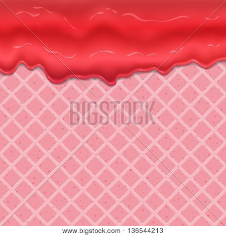 Flowing glaze on wafer texture sweet food vector background abstract. Melt icing ice cream on waffle seamless pattern. Editable - Easy change colors.