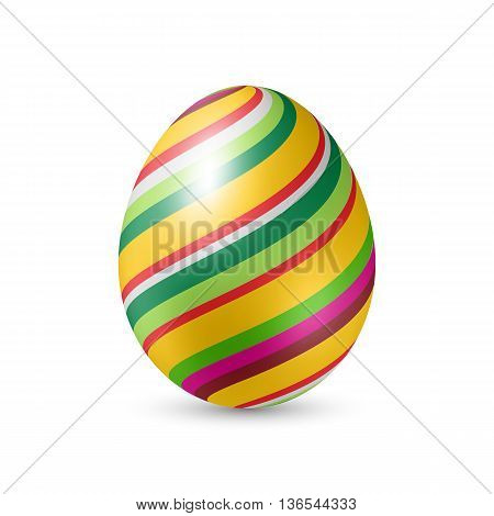 Easter Egg with Colorfull Strips - Standing Vertically on White