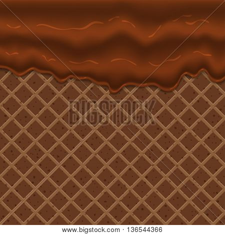Flowing chocolate glaze on wafer texture sweet food vector background abstract, chocolate wafer, chocolate wafer cream, chocolate ice cream, chocolate waffle