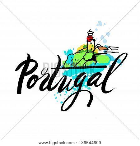 Portugal The Travel Destination logo. Azenhas do Mar, Portugal coastal town. - Vector travel company logo design - Country Flag Travel and Tourism concept t shirt graphics - vector illustration.