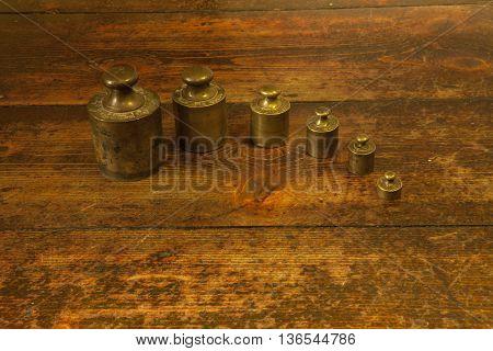 Different Vintage Brass Weights Unit