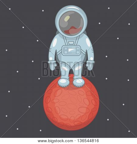 Astronaut standing on the red planet in space with stars.