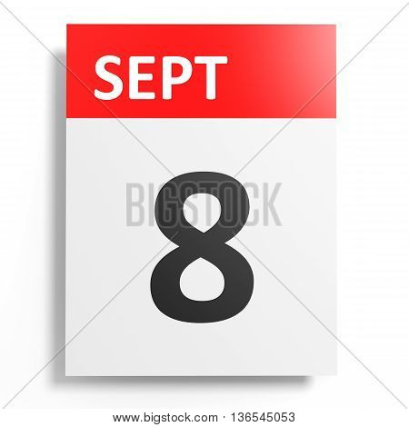 Calendar On White Background. 8 September.