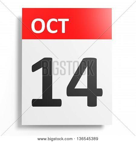 Calendar On White Background. 14 October.