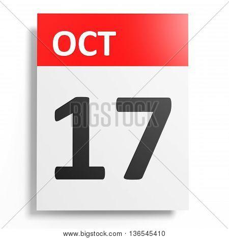 Calendar On White Background. 17 October.