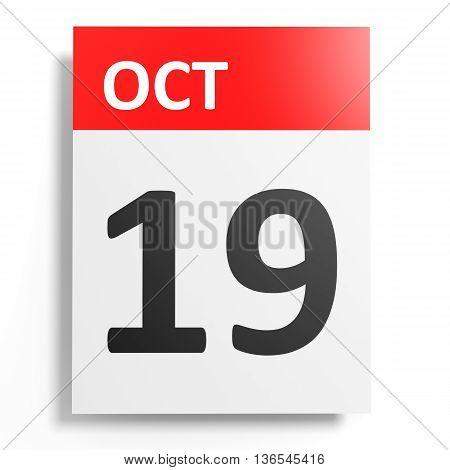 Calendar On White Background. 19 October.