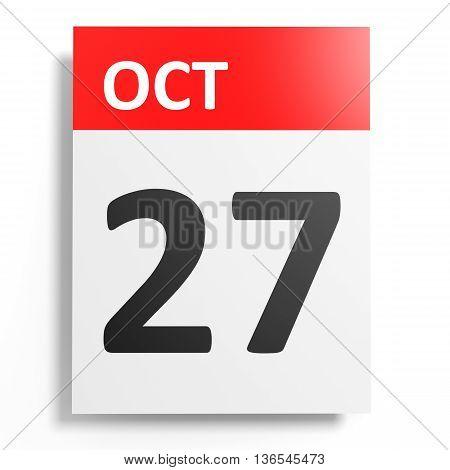 Calendar On White Background. 27 October.
