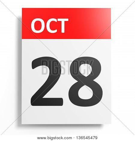 Calendar On White Background. 28 October.