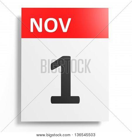 Calendar On White Background. 1 November.