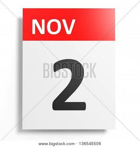 Calendar On White Background. 2 November.