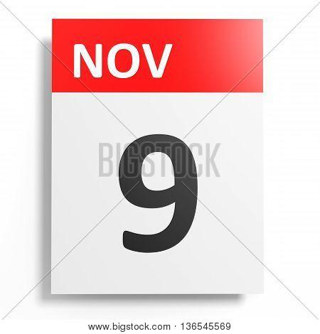 Calendar On White Background. 9 November.