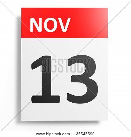 Calendar On White Background. 13 November.