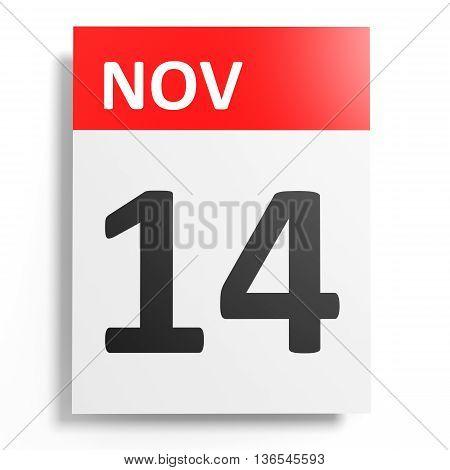 Calendar On White Background. 14 November.