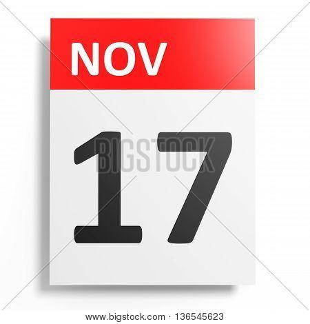 Calendar On White Background. 17 November.