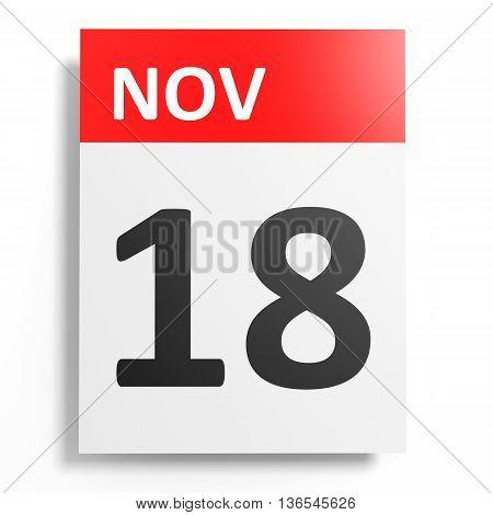 Calendar On White Background. 18 November.