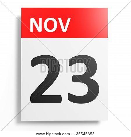 Calendar On White Background. 23 November.