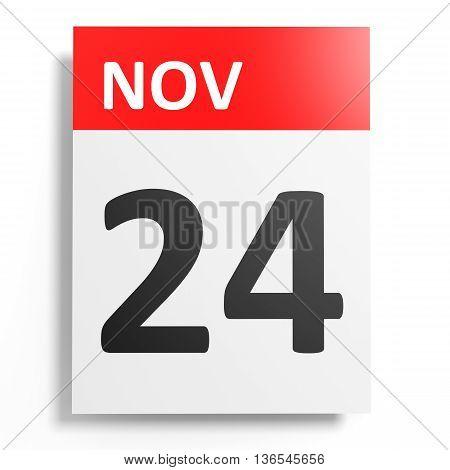 Calendar On White Background. 24 November.