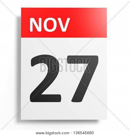 Calendar On White Background. 27 November.