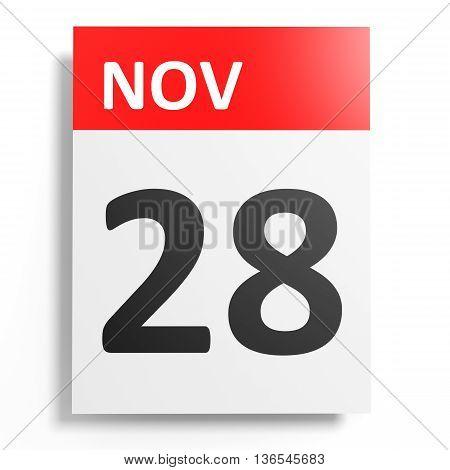 Calendar On White Background. 28 November.
