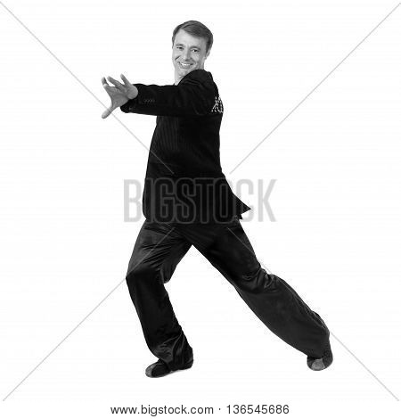 colorless portrait of disco dancer showing some movements against isolated white background
