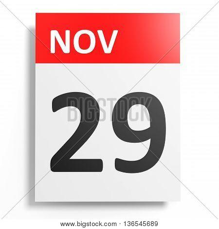 Calendar On White Background. 29 November.
