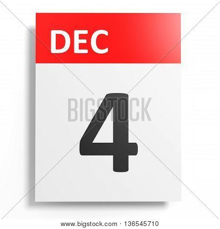 Calendar On White Background. 4 December.