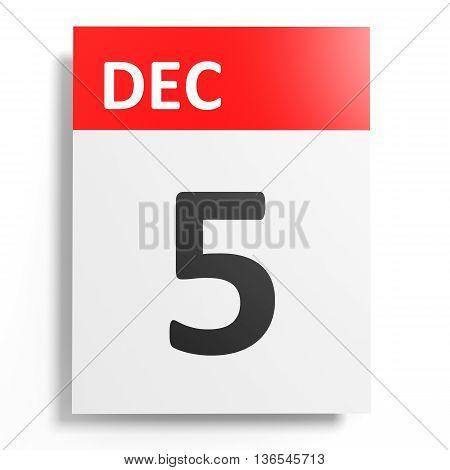Calendar On White Background. 5 December.