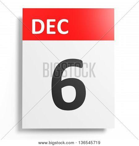 Calendar On White Background. 6 December.
