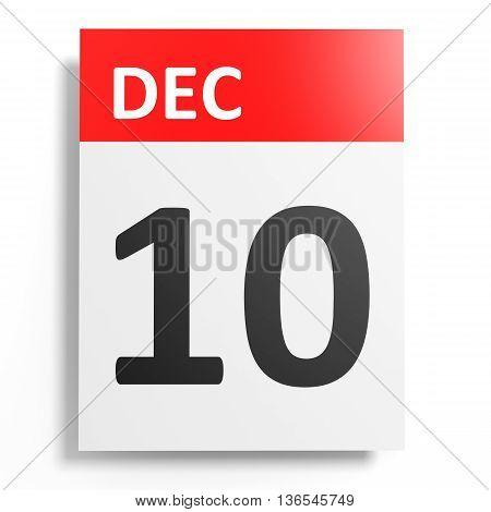 Calendar On White Background. 10 December.