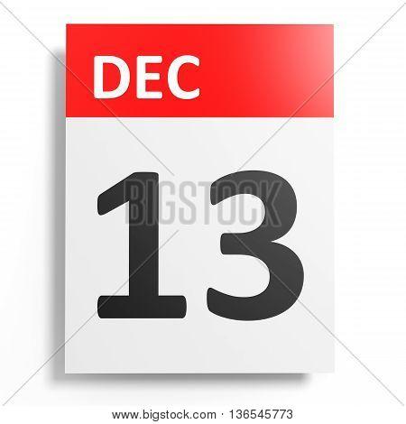 Calendar On White Background. 13 December.
