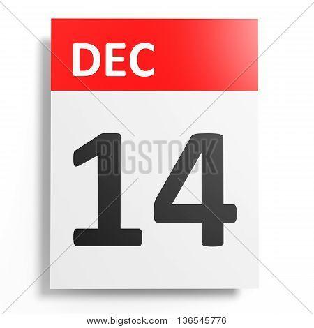 Calendar On White Background. 14 December.