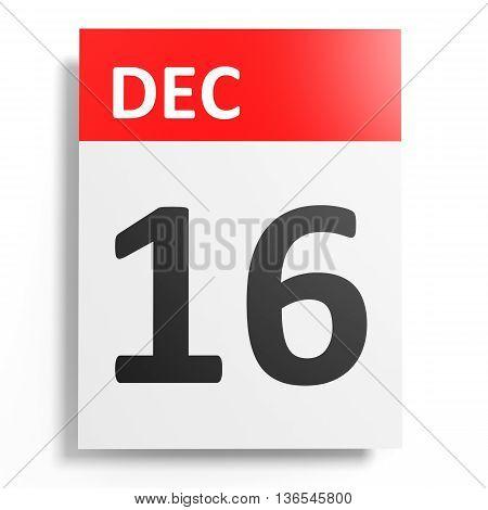 Calendar On White Background. 16 December.