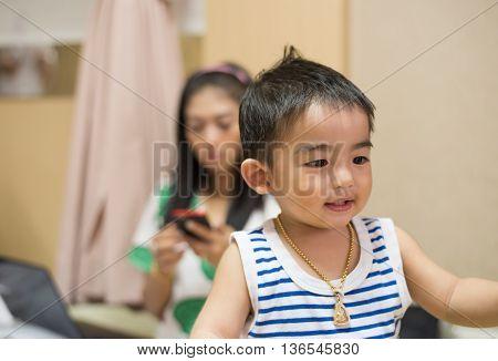 Close up Adorable little boy smiling , thailand