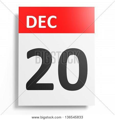 Calendar On White Background. 20 December.