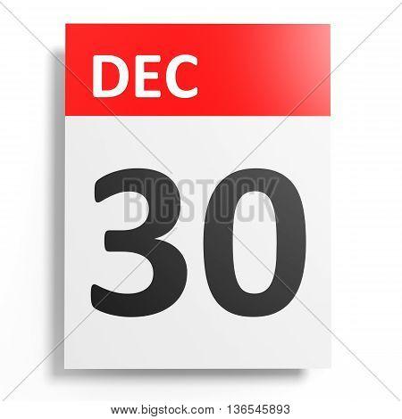 Calendar On White Background. 30 December.