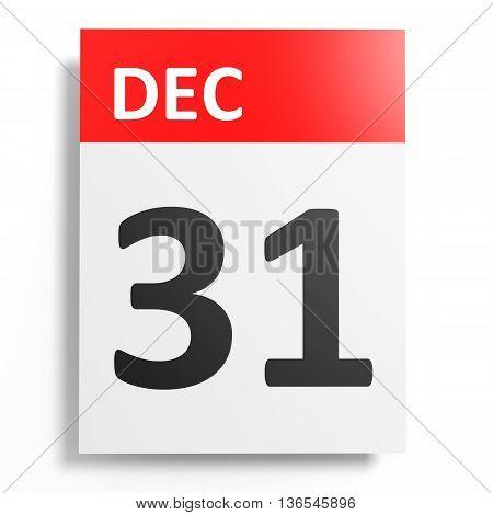 Calendar On White Background. 31 December.